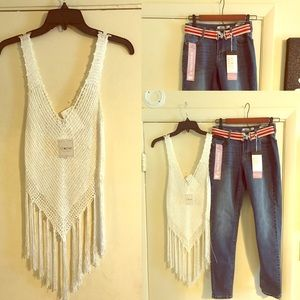 Crochet top and Jeans